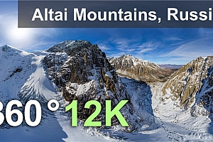 VR全景视频:阿尔泰山脉,俄罗斯、360度12K空中视频【上下格式】