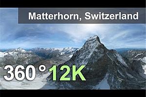 360°VR全景视频:马特洪山,阿尔卑斯山,瑞士 12K空中360视频 (2021)