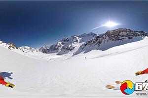 全景360°VR视频:极限运动雪山滑雪运动 VR全景视频下载