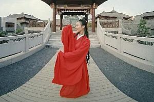 3D汉服美女红衣中国古典舞蹈VR视频2K高清