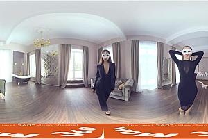 360° VR全景视频:金发美女奥尔加蒙面性感诱惑VR视频4K